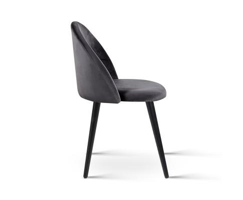 MO DIN 02 VEL BKX2 03 - Georgia Velvet Dining Chair - Dark Grey/Black Frame