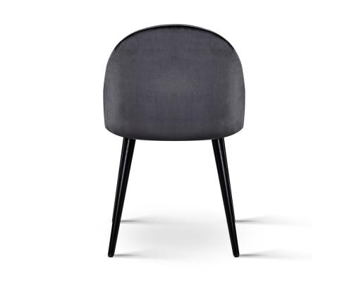 MO DIN 02 VEL BKX2 04 - Georgia Velvet Dining Chair - Dark Grey/Black Frame