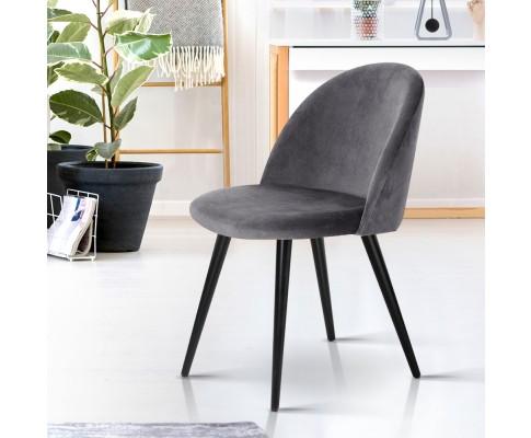 MO DIN 02 VEL BKX2 06 - Georgia Velvet Dining Chair - Dark Grey/Black Frame