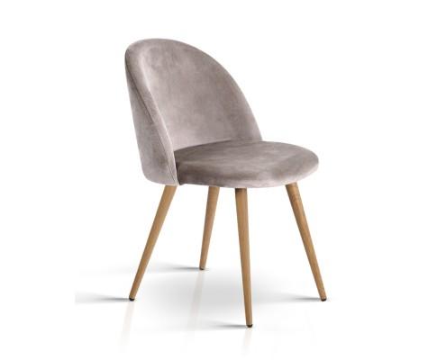 MO DIN 02 VEL LI GYX2 00 - Georgia Velvet Dining Chair - Light Grey