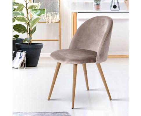 MO DIN 02 VEL LI GYX2 06 - Georgia Velvet Dining Chair - Light Grey