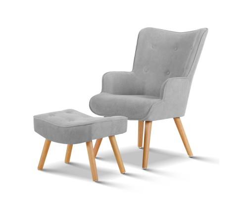UPHO B ARM05STO LI GY 00 - Linda Armchair & Ottoman - Light Grey