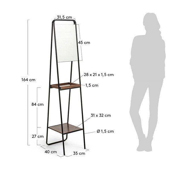 Dimensions to Benji Mirror with Walnut Veneer Shelves 600x600 - Benji Mirror & Shelf
