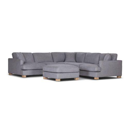 vo avoc 01 gry 1 500x500 - Avoca 6 Seater Corner Suite With Ottoman - Grey