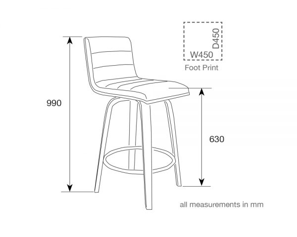 knox2 600x480 - Knox Barstool - Walnut with White Seat