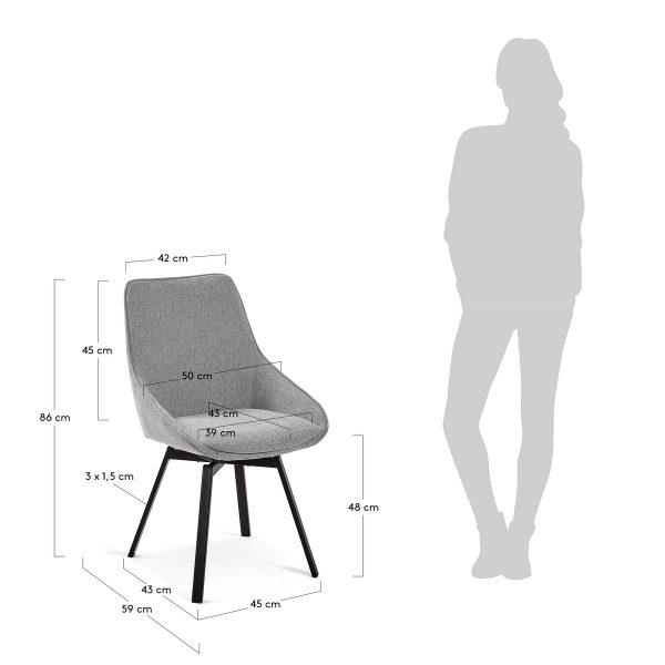CC1154PK03 8 600x600 - Haston Swivel Dining Chair - Light Grey