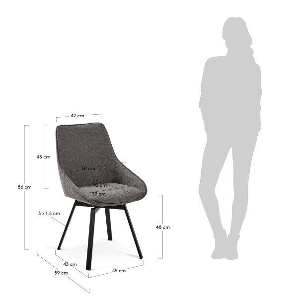 CC1154PK15 8 600x600 - Haston Swivel Dining Chair - Dark Grey