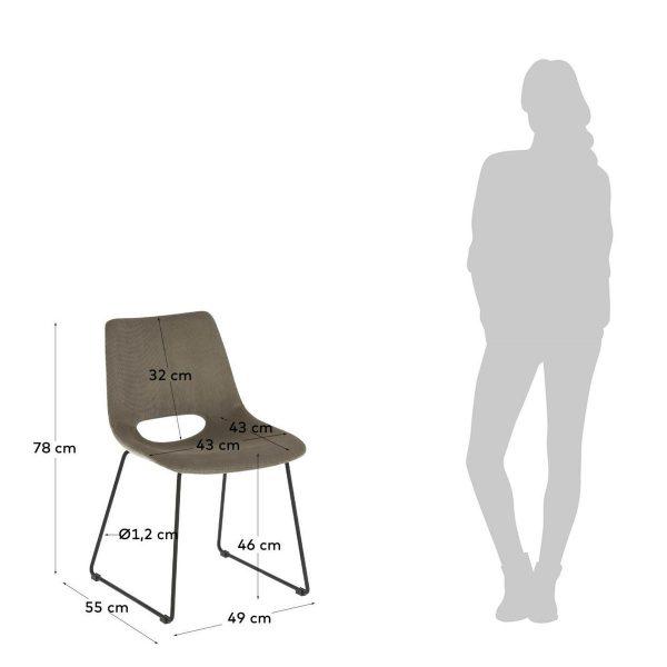 CC0826PN15 6 600x600 - Ziggy Dining Chair - Grey Corduroy Fabric