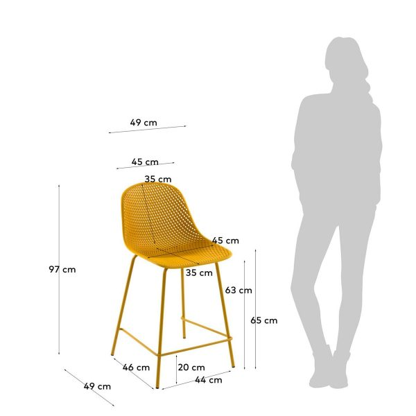CC1990S31H 4 600x600 - Quinby Barstool-Mustard 65cms Seat