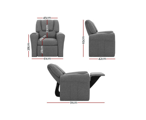 KID RECLINER GY 01 - Amy Kids Recliner Armchair - Grey Fabric