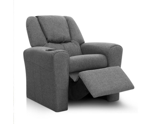 KID RECLINER GY 02 - Amy Kids Recliner Armchair - Grey Fabric