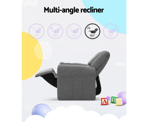 KID RECLINER GY 04 - Amy Kids Recliner Armchair - Grey Fabric
