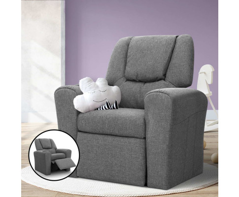 KID RECLINER GY 99 - Amy Kids Recliner Armchair - Grey Fabric