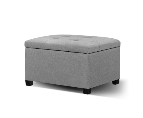 OTM 70LIN LI GY 00 - Dimi Square Storage Ottoman - Light Grey