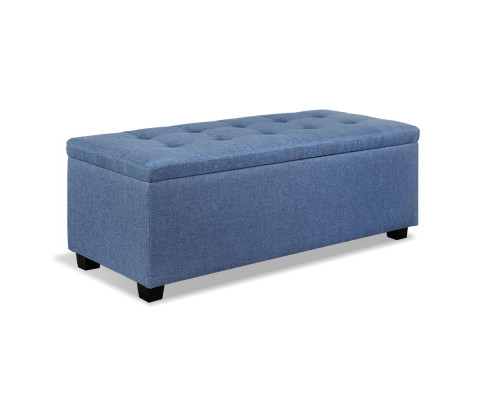 OTM L2 LINEN BU 00 - Courtney Fabric Storage Ottoman - Blue