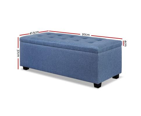 OTM L2 LINEN BU 01 - Courtney Fabric Storage Ottoman - Blue