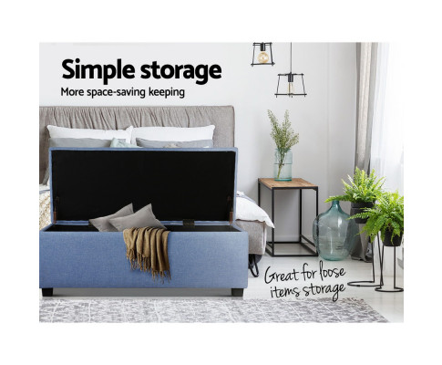 OTM L2 LINEN BU 05 - Courtney Fabric Storage Ottoman - Blue