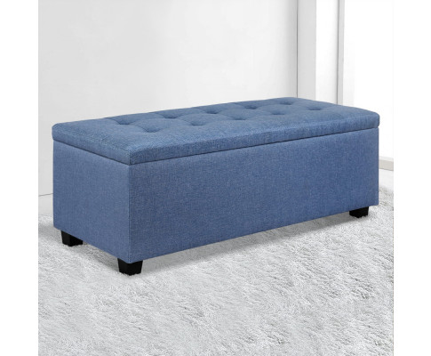 OTM L2 LINEN BU 06 - Courtney Fabric Storage Ottoman - Blue