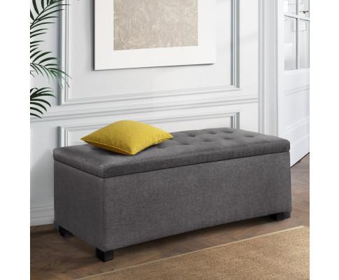 OTM L2 LINEN GY 99 - Courtney Fabric Storage Ottoman - Grey