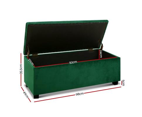 OTM L2 VEL GREEN 01 - Harper Storage Velvet Ottoman - Emerald Green