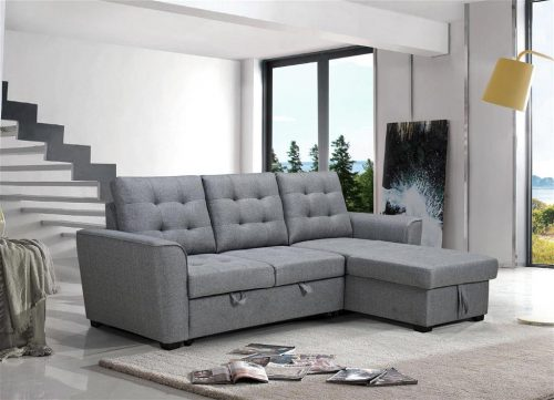 vo auro 01 1 500x361 - Aurore 2 Seater with Sofabed & Reversible Storage Chaise - Grey Fabric