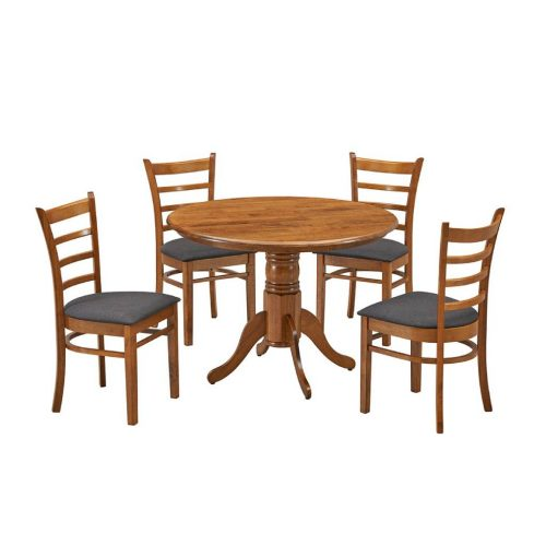 vod mack 5pc kit 1 500x500 - Mackay 5 Piece Round Dining Setting - Walnut