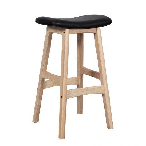 Gangman kitchen bar stool natural timber frame Black seat bec5d00e b939 4061 b61a e94dbb67a9c6 1024x1024 500x500 - Gangnam Barstool - Oak Frame & Black PU Seat