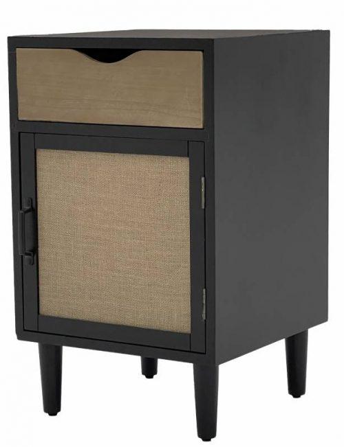 Lesley 500x651 - Lesley 1 Drawer 1 Door Bedside Table - Black